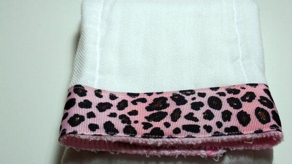 Burp Cloth- Light  Pink Cheetah Ribbon