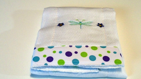 Embroidered  Burp Cloth Bib - Dragonfly and Purple Daisy
