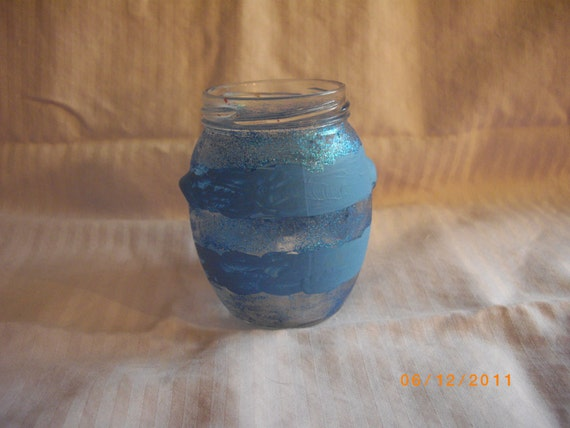 BLUE StRiPeS and SPaRkLes BaNdS JaR for CaNdLeS PeNs CrOcHet NeEdLeS CrAfTs Votives Tealights Upcycled OOAK