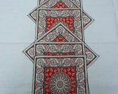 SIX Mid-Century Paisley Cocktail Napkins  -  Reduced to SELL