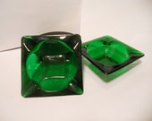 Emerald Green Glass Ashtrays