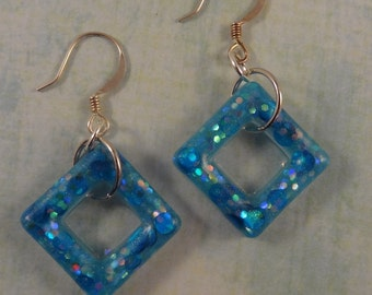 Resin Earrings - Bright blue and glittery