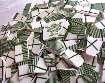 Mosaic Tiles Green and White Plaid - Broken China - LAST SET