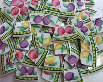 Fruit MOSAIC China Tiles - Vibrant Colors - Broken China - Recycled Plates