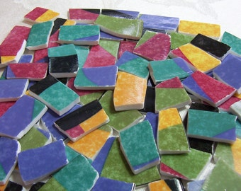 MOSAIC Tiles Broken China Colorful Modern Porcelain Tiles - Recycled Plates - 50 Tiles