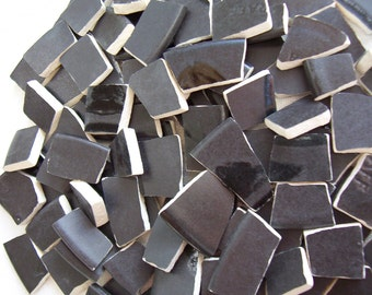 SALE - Mosaic Tiles - Solid BLACK Pfaltzgraff Recycled Plates - 100 Tiles