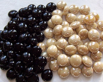 100 Glass Gems - BLACK and CREAM Mix - Mosaic/Wedding/Floral/Candle Displays - Half Marbles/Cabochons/Glass Nuggets