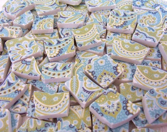 MOSAIC Tiles - Lyria Teal Aqua PAISLEY Blue and Green - Broken China 100 Tiles
