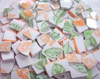 SALE - MOSAIC Tiles Broken China - Orange Blossoms Farberware - 100 Tiles
