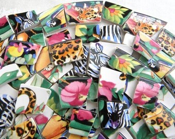 RAINFOREST - Broken China Mosaic Tiles Recycled Designer Plates