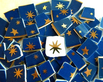 Mosaic China Tiles - STARS and more STARS - Gold and Royal Blue - 50 Tiles