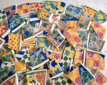 MOSAIC Tiles - Floral English Quilt - Broken China - 110 Tiles - LAST Set