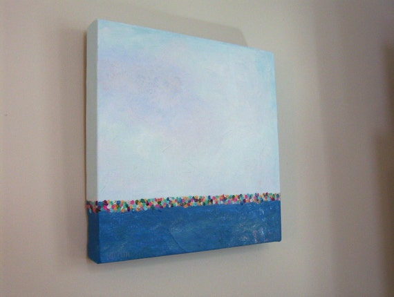 Original Abstract Landscape Painting - SHIMMER on the HORIZON - 12 x 12