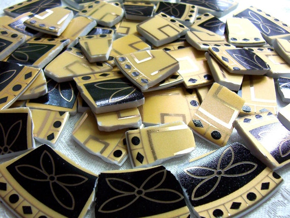 Broken China MOSAIC Tiles - Glitzy Black and Gold Tiles