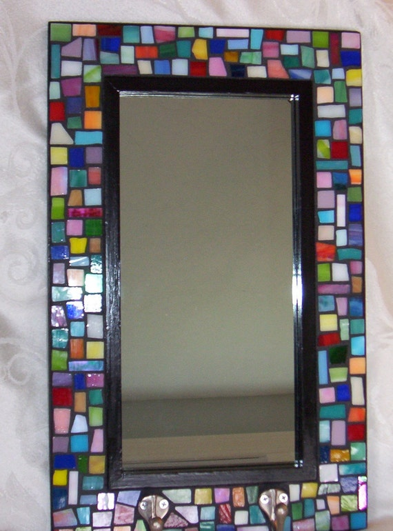 Mosaic Mirror with Hooks - Stained Glass - Geometric