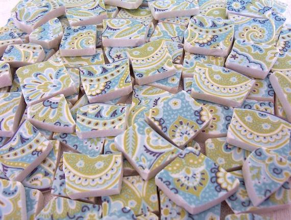 MOSAIC Tiles - Lyria Teal PAISLEY Blue and Green - Broken China 100 Tiles