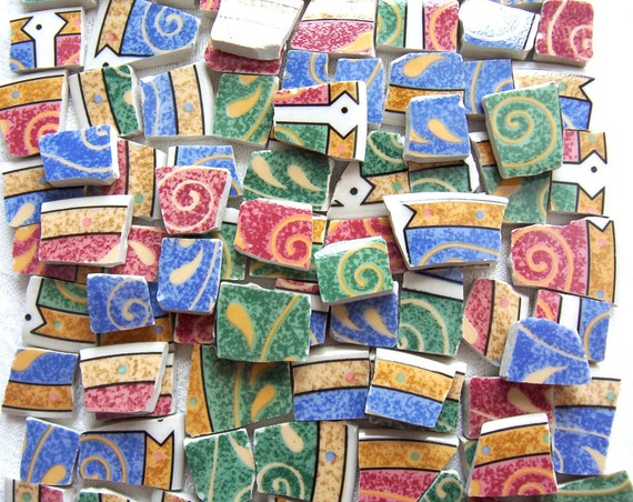 SALE-CLEARANCE Mosaic Tiles - Recycled Plates - Sue Zipkin - Persia