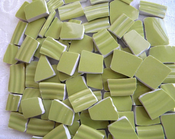 CHARTREUSE Mosaic Tiles Broken China - HOT Color