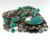 1930s glass necklace / Czech style green bead filigree / vintage old  jewelry