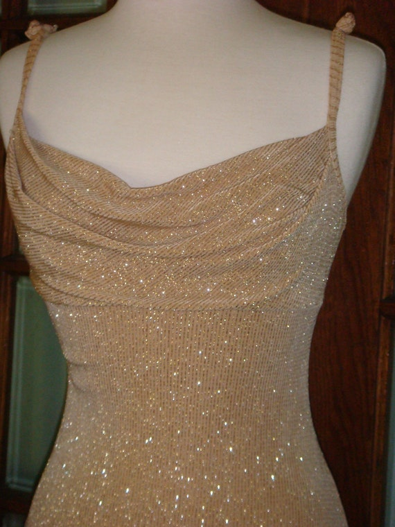 Vintage Gold Lame Dress thefind on Etsy glitter party 1980s studio 54