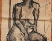 Venus at Her Vanity - Charcoal Figure Drawing - Original Art 28x36