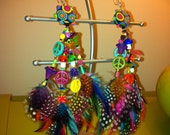 KALEIDOSCOPE EYES PsYcHeDeLiC Long Feather Earrings Mushroom Peace Signs Black Light Neon Florescent Rainbow Unique Shakedown Trendy