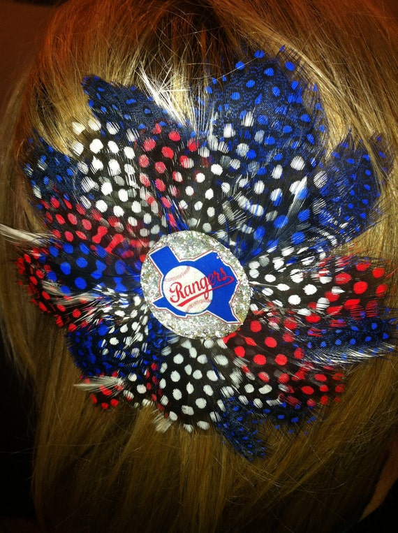 TEXAS RANGERS Glitter Resin Feather Hair Clip Baseball Vintage Ladies girls sports apparel Cheerleading