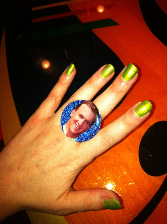 S A L E - Peyton Manning DENVER BRONCOS Glitter Resin RING Football Ladies Girls Sports team Apparel tickets cheer