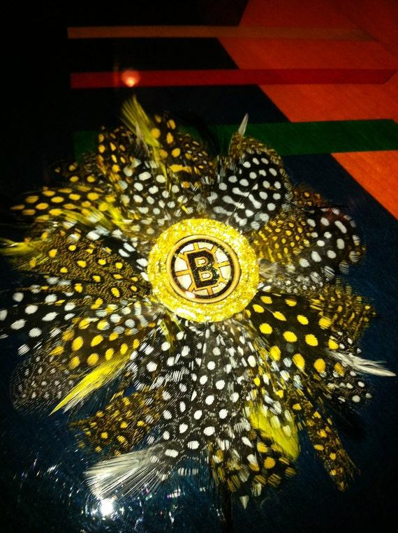 BOSTON BRUINS Glitter Resin Feather Hair Clip Hockey ooak