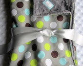 "CUSTOM LISTING for Adam - Blue and Gray Baby Boy Blanket 35"" x 29"" in Handsome Dot Gray & Minky - Embroidery Personalization included"
