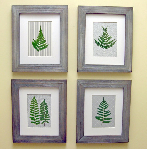 Pressed Woodland Botanicals,  Set of 4,  Matted 8 x 10,  Modern Cottage Art
