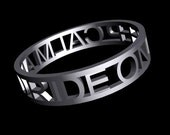 "Reserved for ... 3D Printed Stainless Steel ring ""White Spaces - Keep calm and ride on"""