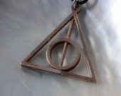 "3D Printed Stainless Steel Pendant ""Harry Potter Deathly Hallows"" (rotation circle)"