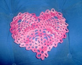 Shades of Pink 5 Inch Heart Doily Crocheted FREE SHIPPING -106