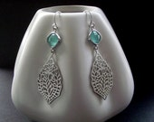 White Gold Paisley Filigree Earrings with Aqua Glass Briolettes