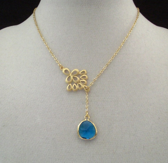 Gold Peacock Feather Lariat Necklace with Capri Blue Glass Briolette
