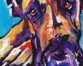 "Great Dane art print pop dog art bright colors 8.5x11"" LEA"