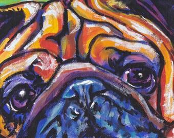 "pug art print pop dog art print bright colors 13x19"" LEA"