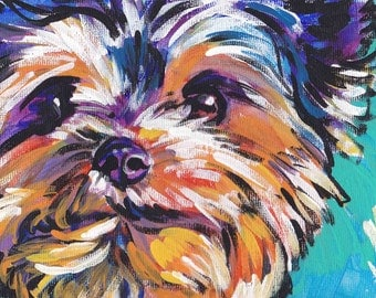 Yorkshire Terrier yorkie art print pop dog art bright colors 13x19  LEA