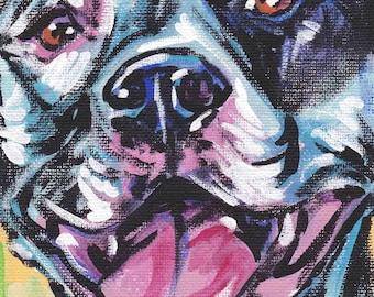 "Pitbull pit bull art print dog pop art bright colors 8.5x11"" LEA"