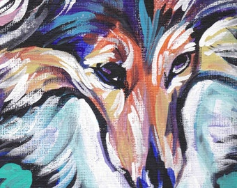 "Shetland Sheepdog Sheltie art print dog pop art bright colors 8.5x11"" LEA"