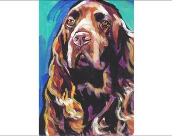 "Field Spaniel art print pop dog art bright colors 13x19"" LEA"
