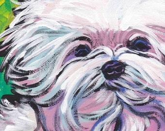 "Maltese art print pop dog art bright colors 8.5x11""  LEA"