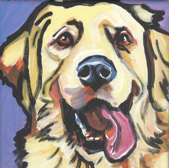 Golden Retriever modern Dog art print pop dog art bright colors 12x12 inch