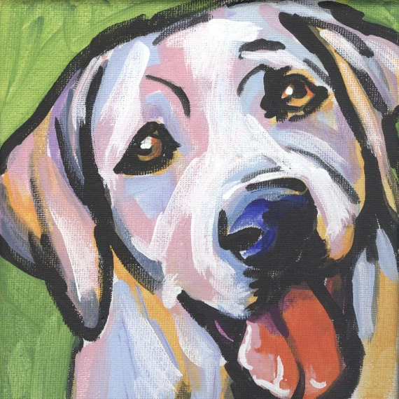 Labrador Retriever modern Dog art print Yellow lab pop dog art bright colors12x12 inch