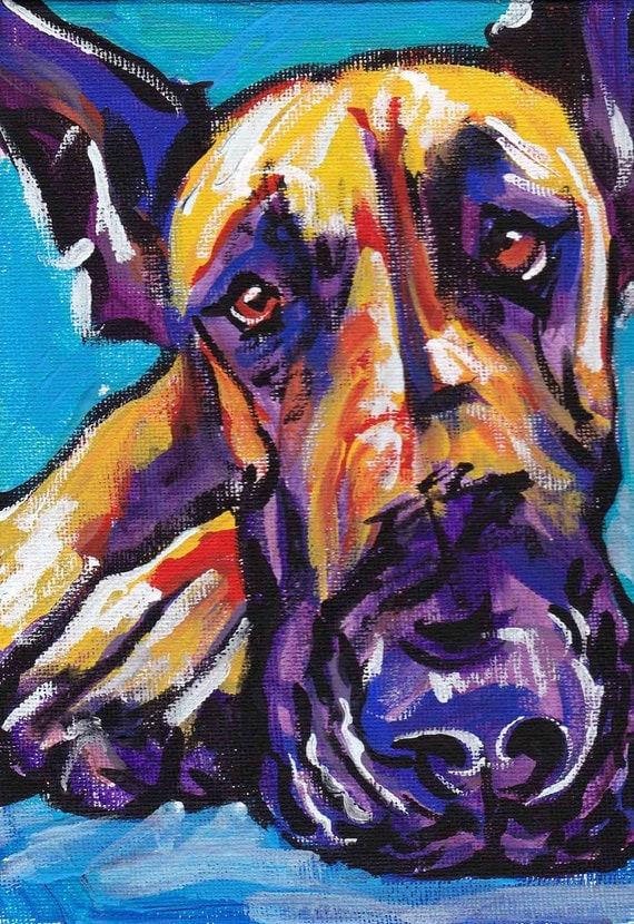 "Great Dane art print pop dog art bright colors 13x19"" LEA"