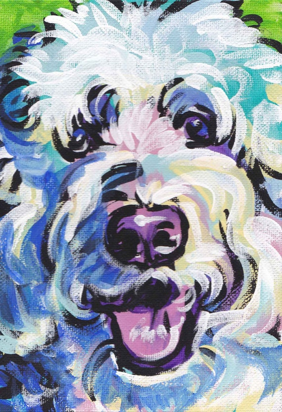 "Golden Doodle art print pop dog art bright colors 13x19"" LEA"