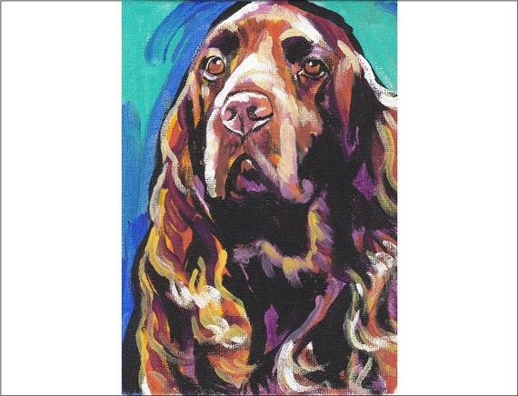 "Field Spaniel art print pop dog art bright colors 8.5x11"" LEA"