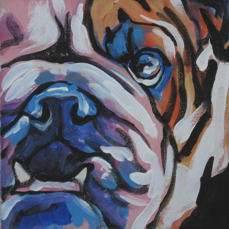 English Bulldog art print modern Dog pop dog art bright