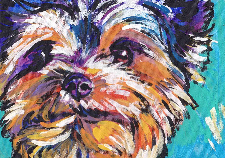 Yorkshire Terrier yorkie art print pop dog art bright colors